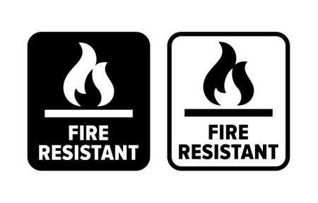 """""""Fire resistant"""" material information sign"""
