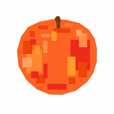 Peach fruit, pixel flat design