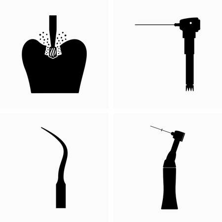 Tooth drilling and dental tools for this procedure Çizim