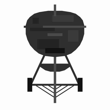 Barbecue grill, pixel flat design Иллюстрация