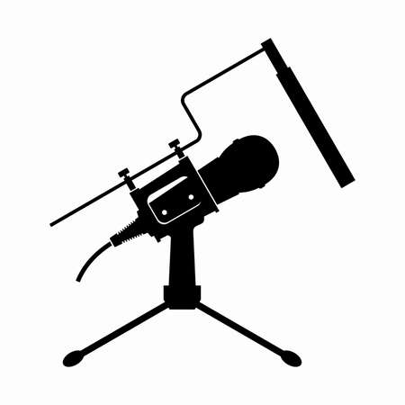 Desktop microphone with an adjustable table stand and a spittoon Çizim