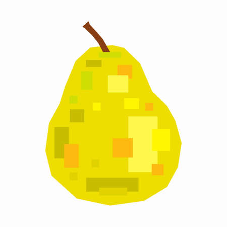 Pear fruit, pixel flat design