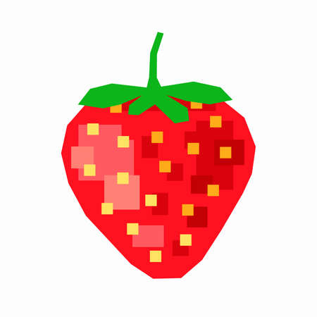 Red strawberry, pixel flat design