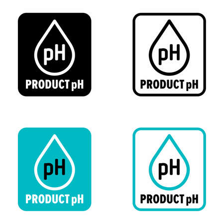 """""""Product pH"""" level of water-based solutions, chemistry information sign"""