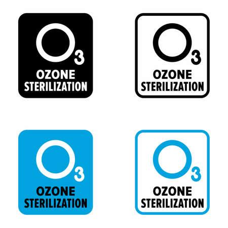 """Ozone sterilization"" germ, virus and microbe destroying system information sign Vettoriali"