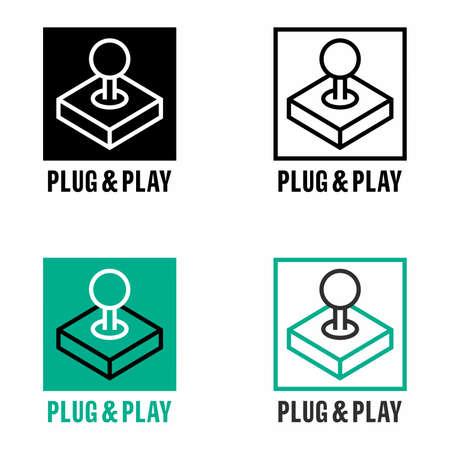 Plug & play PnP facilitating technology information sign Illustration