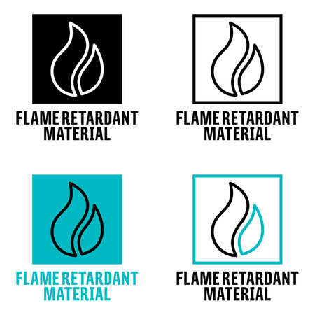 """""""Flame retardant material"""" fire resistant fabric information sign"""
