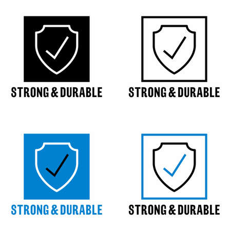 """""""Strong and durable"""" item property information sign Vector Illustration"""