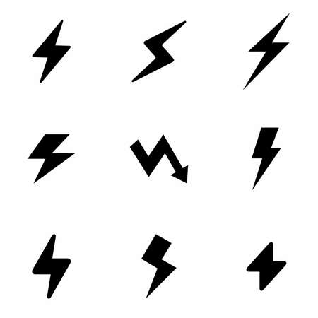 Different shapes of lightening strikes set of icons