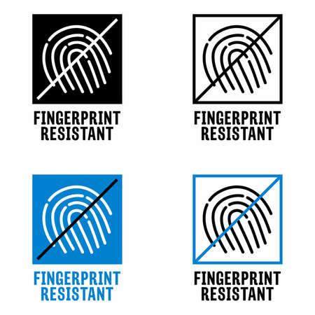 """Fingerprint resistant"" finishes information sign Ilustración de vector"