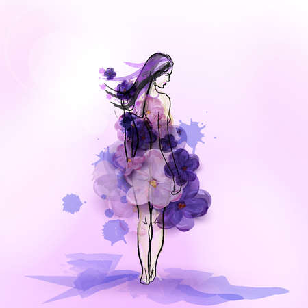 glamorous: Silhouette of girl in dress from flowers of lilac. Abstract vector illustration.