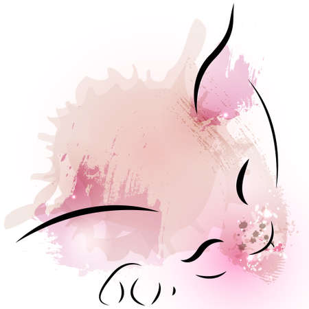 cat sleeping: Cute watercolor pink small cat sleeping on paw