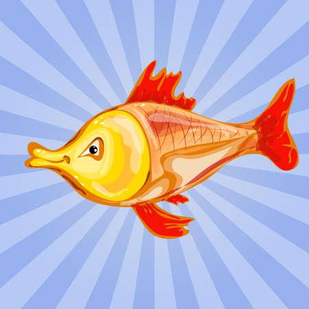 happy goldfish cartoon character waving