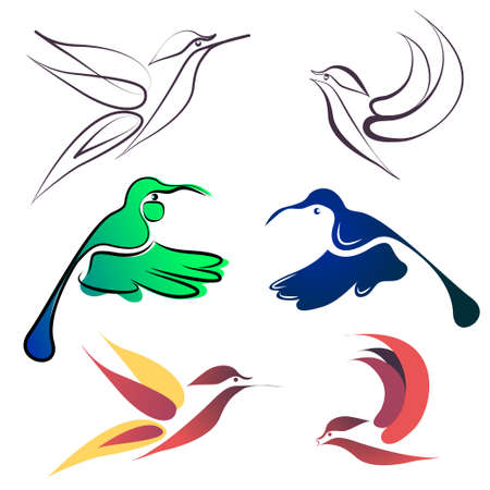 Bird flying symbols icons Illustration