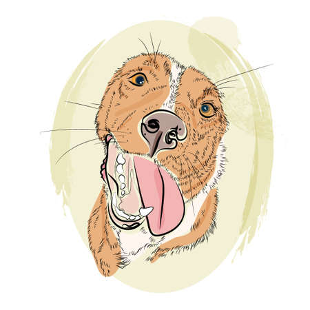 Hand drawb red dog smile on a bright background Illustration