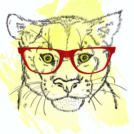 animal head: Animal head with red glasses sketch
