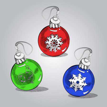 decorative line: Christmas green, red and blueballs, vector sketch background