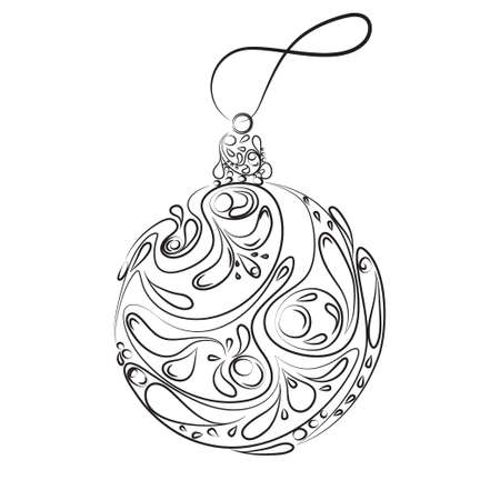 Ethnic vector christmas ball in balck color isolated on a white background Çizim
