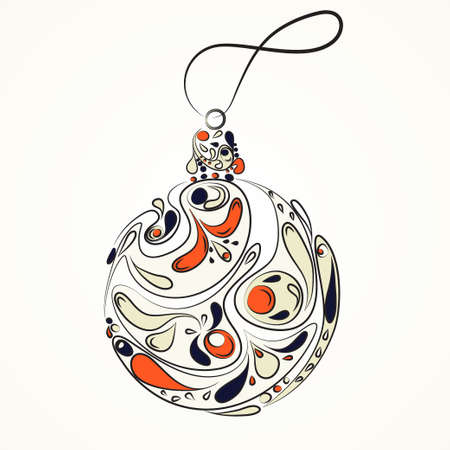 happynes: Beautiful Christmas ball. Doodle ethnic stylized design. Vector element. Cartoon style on a white background