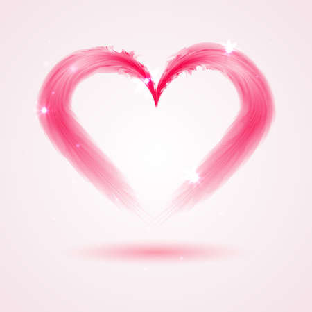 Pink Heart from feathers on white background