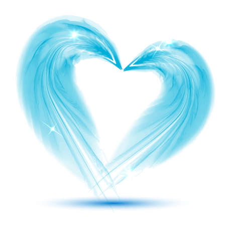 Blue Heart from feathers on white background