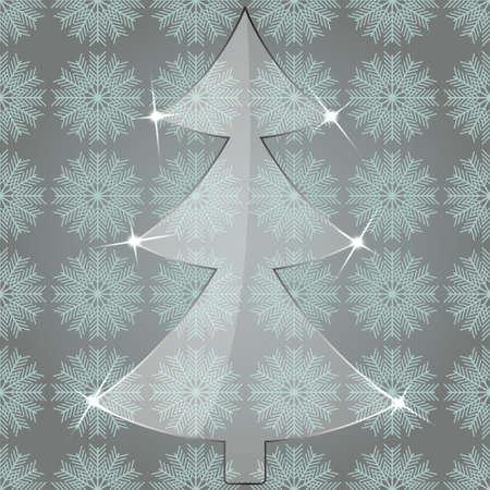 plexiglas: Glass Christmas Tree on a seamless pattern with snowflakes Illustration