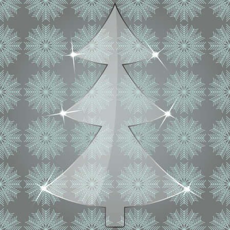 Glass Christmas Tree on a seamless pattern with snowflakes Illustration