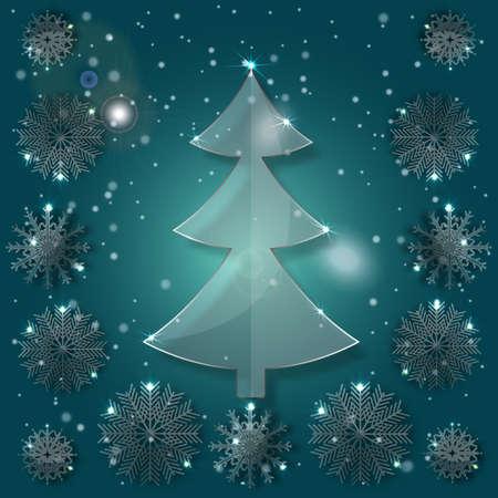 plexiglas: Glass Christmas Tree on a pattern with snowflakes