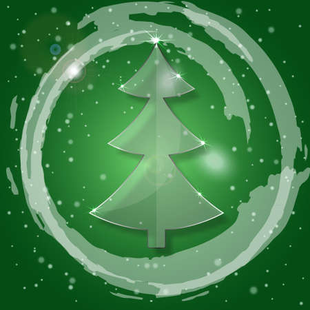 Glass Christmas Tree on a green background with snowflakes