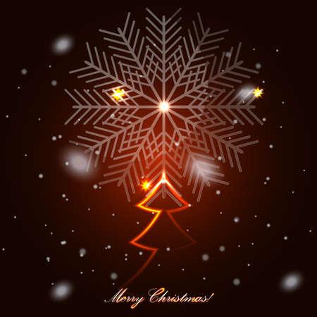 plexiglas: Glass Christmas Tree with snowflakes Illustration
