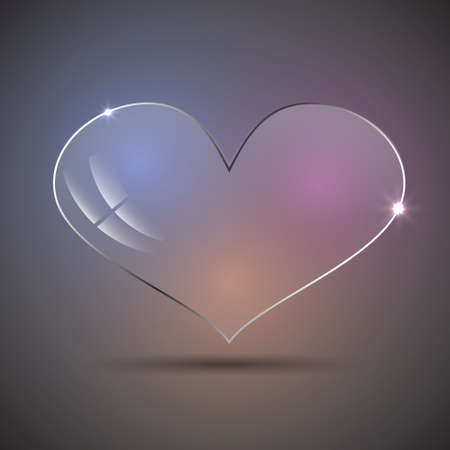 Vector modern glass heart on a colorful background. Illustration