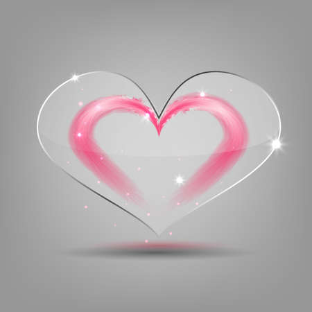 feather boa: Vector modern glass heart with feather heart under it.