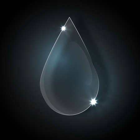 waterdrop: Glass waterdrop on dark background.