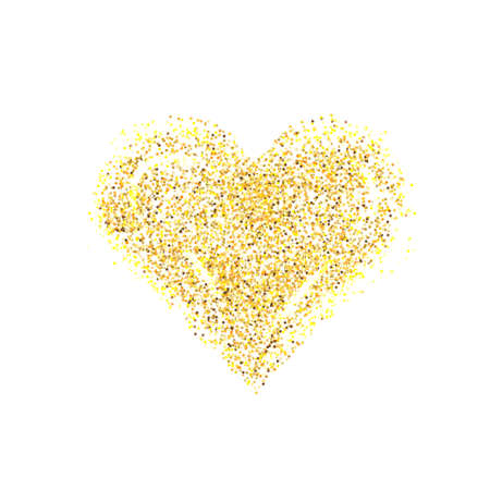 Vector gold glitter heart. Love concept card background for Valentines day