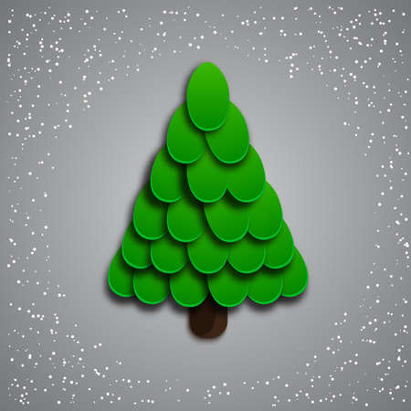 Christmas tree on a grey background Illustration