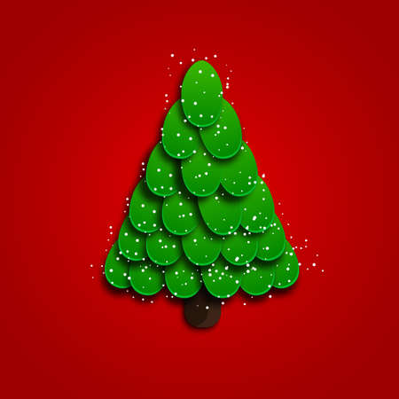 whimsy: Christmas tree on a red background