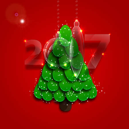 Christmas tree on a red background with glass decoration