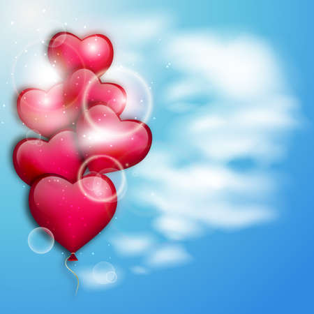 pink balloons: Pink balloons on a blue sky. Valentines day illustration