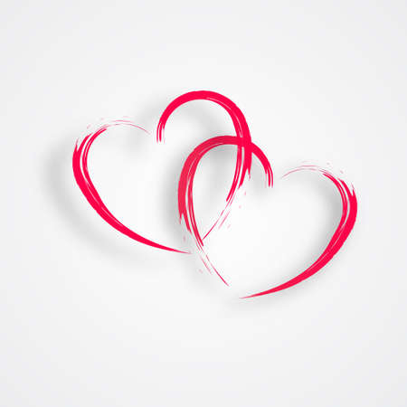 linked: 2 Linked Hearts Illustration