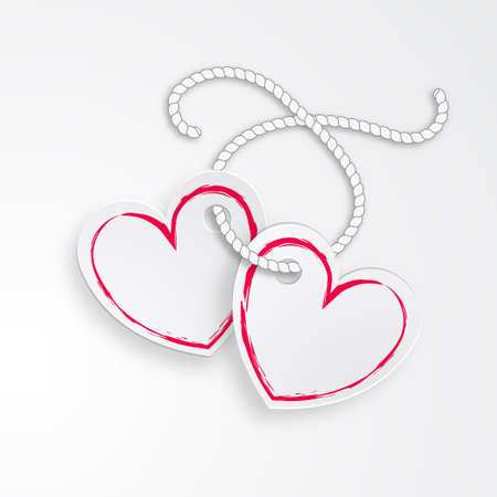 2 Linked Hearts with rope and shadows isolated on a white background