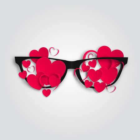Picture of Valentines day. Glasses with hearts. Vector 3D illustration