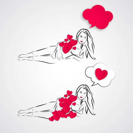 Young sexy girl in sketch style with red hearts around her. Valentines day picture