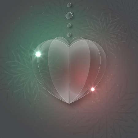 glass heart: Vector modern glass heart on sample background.