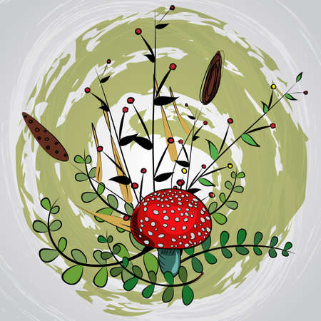 inedible: Cute amanita vector pattern with leaf and berries. Poisonus mushrooms doodle style wallpaper. Illustration