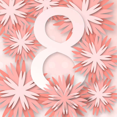 Abstract Pink Floral Greeting card - International Happy Womens Day - 8 March holiday background with paper cut Frame Flowers. Happy Mothers Day. Stock Photo