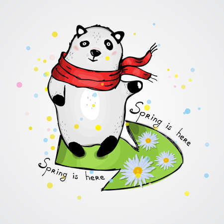 Cute Panda in a red scarf. Caption: spring is here