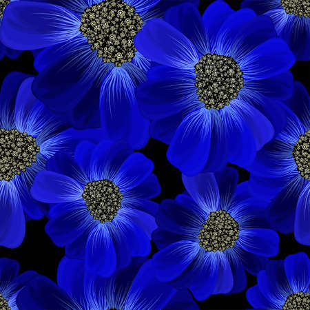 Abstract seamless hand painted background. Isolated blue flowers on a black background. Vector illustration.