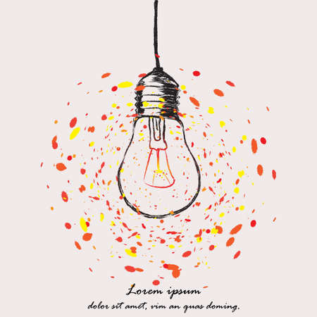 Light bulb icon sketch in vector. Hand-drawn doodle sign. Illustration