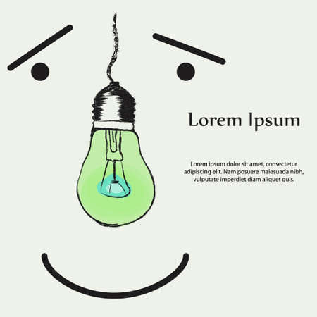 Abstract picture of a light bulb instead of a nose. Can be used for medical design