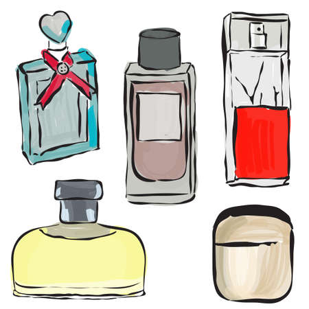 parfume: Parfume bottles sketch illustration. Illustration